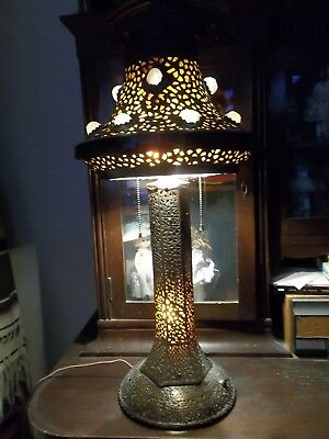 20s Turkish Syrian Moroccan Pierced Brass RARE Jeweled Lamp