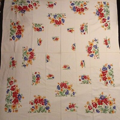 """Unused TABLECLOTH Primary Colours Floral 52x46"""" VTG COTTON Delightful!!"""