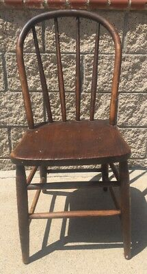 Antique Primitive Tiger Striped Oak Wood Dining Chair Barn Decor