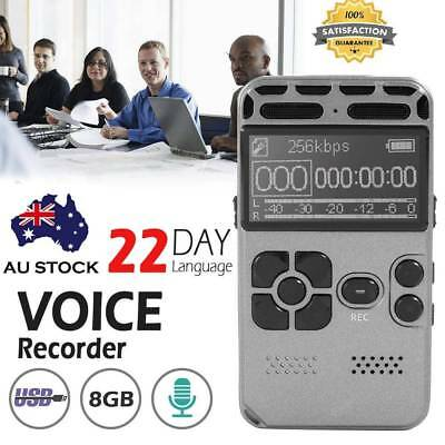 8GB HiFi LCD USB Digital Sound Voice Recorder Dictaphone MP3 Player Rechargeable