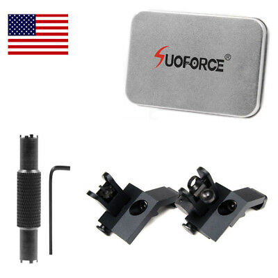 USA Front and Rear Flip Up 45 Degree Offset Rapid Transition Backup Iron Sight
