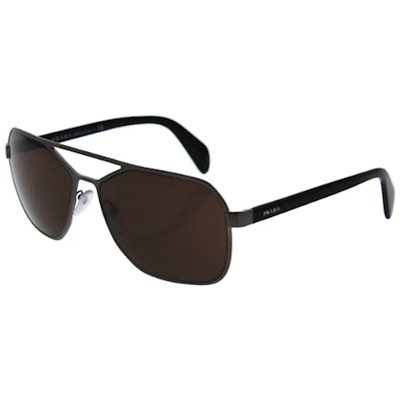 ef235e245c3b New PRADA Mens Designer Sunglasses Silver Grey Square Aviator SPR 54R  75S-8C1