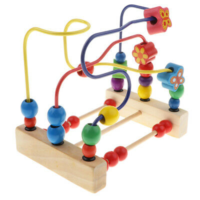 Wooden Counting Bead Abacus Wire Maze Roller Coaster Educational Kids Toy