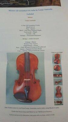 Excellent condition Meister oil varnished 4/4 Violin by Largo Australia.