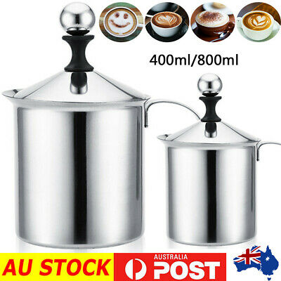 400/800ML Manual Milk Frother Double Mesh Coffee Cappuccino Foamer Creamer Safe