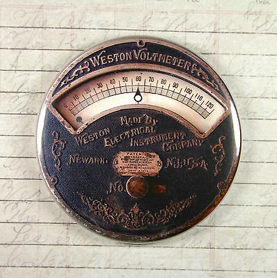 Printed Weston Voltmeter Gauge Magnet #2 - Steampunk Electrical Current Gears