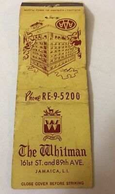 Vintage Matchbook Cover Matchcover The Whitman Hotel Jamaica NY