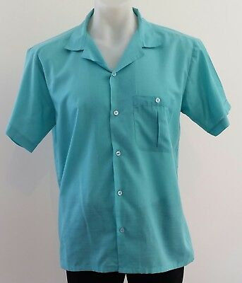Mens Vintage 80s CLUB COLLECTION Short Sleeve TEAL GREEN Casual SHIRT size XL