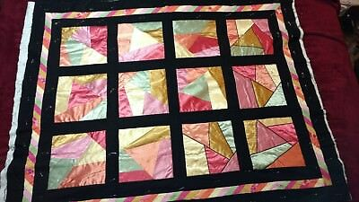 """Hand Made Crazy Quilt Unfinished Approx 60""""X48"""" Cotton Satin Cotton Batting"""