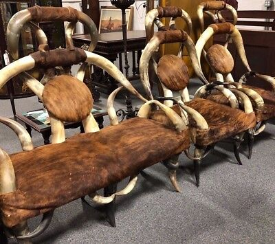 Antique Steer Horn Settee & Chairs with Cowhide: By Friedrich or Puppe?