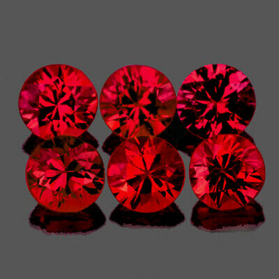 3.20 mm ROUND 6 PIECES MACHINE CUT NATURAL AAA RED MOGOK SPINEL [FLAWLESS-VVS]