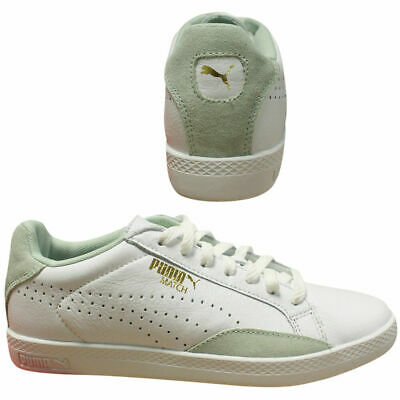 Puma Match Lo Basic Sports White Green Womens Lace Up Leather Trainers  357543 Q3 c6e772416f2a