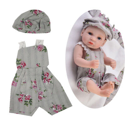 Cute Rompers Jumpsuit Hat for 10-11inch Reborn Baby Girl Doll Clothes Outfit