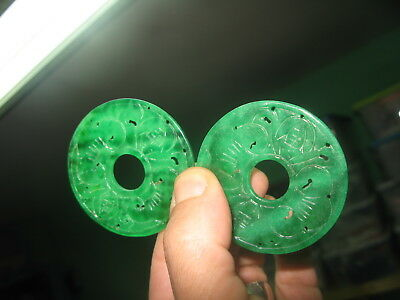 S 31.40g Vintage A Jadeite Nephrite Emerald Color 02 Donuts 157TCW