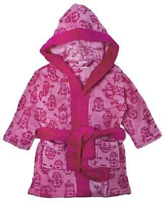 Pink Minions Fleece Dressing Gown Hooded Bath Robe Despicable Me Girls Gift Size