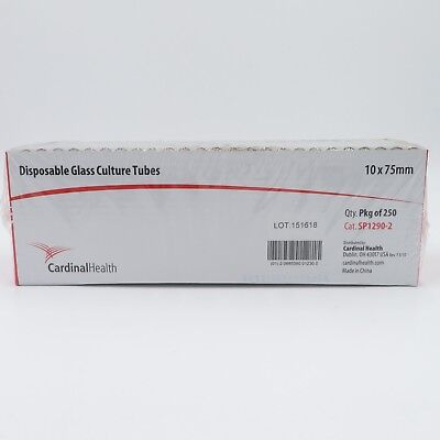 Cardinal Health SP1290-2 Disposable Glass Culture Tubes, 10 x 75mm, Box of 250