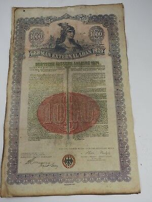 German External Loan 1924 $1000 Gold Bond Bankers Trust Co Uncancelled
