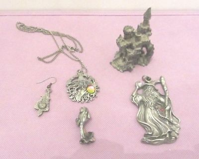 Lot of 5 Pewter Items  Math the Ancient Wizard, Dragon, Castle