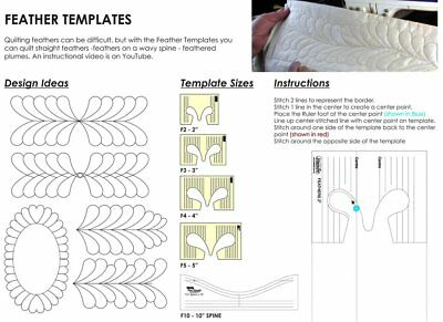 "Westalee Design 4 pc Feather Set + 10"" Feather Spine Quilting Template Bundle"