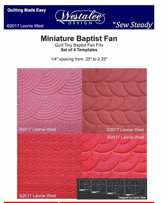 Westalee Design Mini Baptist Fan 4 Piece Template Set for Quilting