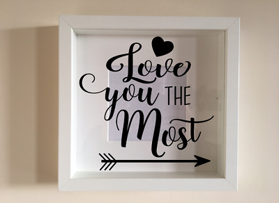 IKEA RIBBA Box Frame Personalised Vinyl Wall Art Quote Love you lots jelly tots
