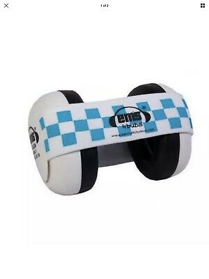 Em's 4 Bubs Hearing Protection Baby Earmuffs White/Blue Headband Free Shipping