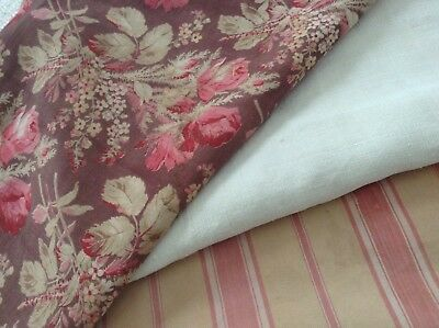 Antique/vintage French Fabric Coordinates bundles project sewing Floral ticking
