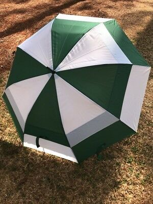 "60"" Double Canopy Extra Large Golf Umbrella Push Button Windproof Green & White"