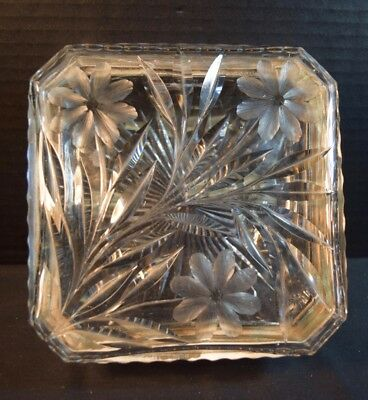 Fine Large Square Cut Crystal Glass Box with Silver Plate Mounts