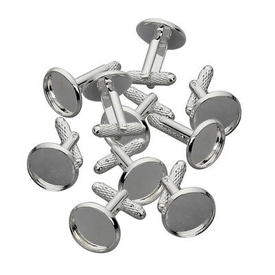 10x Silver Plated Cufflinks Blank Cabochons Settings for DIY Men's Jewelry