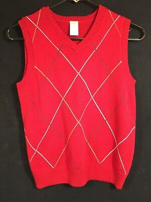 Gymboree Red, White, Beige, Brown Cotton Blend V-Neck  Sweater Vest Boys M (7-8)