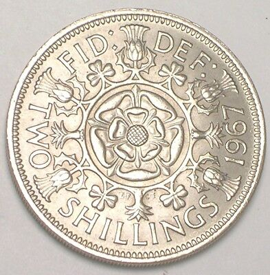 1967 UK Great Britain Two 2 Shillings Double Rose Coin XF+