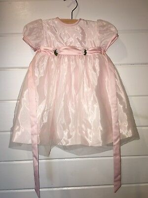 b868364a50f Vintage 80s Sylvia Whyte Saks Fifth Ave Baby Girl 18 m Pink Satin Party  Dress