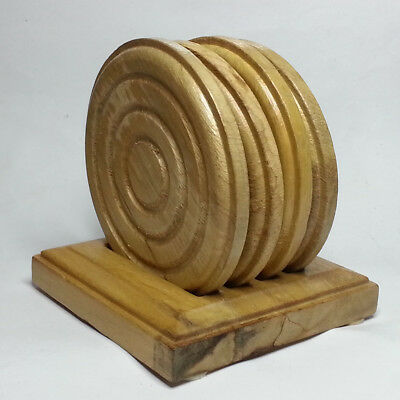 Set of 4 Wood Round Coasters With Stand