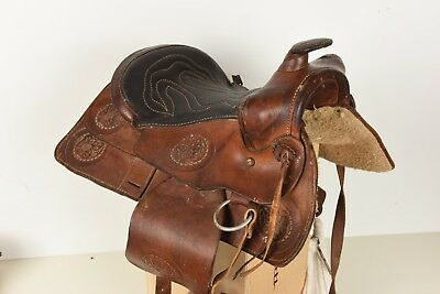 "Vintage Child's Tooled Leather Horse Saddle Western Youth Children's 12"" seat"