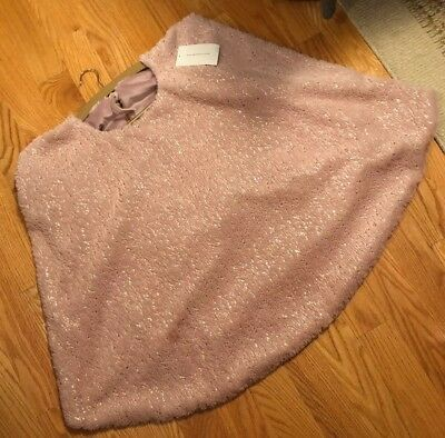 """Isaac Mizrahi Pink Rose Gold Speckled Faux Fur Christmas Tree Skirt 60"""" New"""