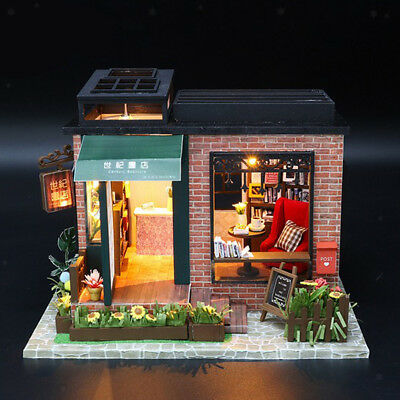 1/24 DIY Miniature Dollhouse Bookshop Doll House Furniture Kits Kid Toy Gift