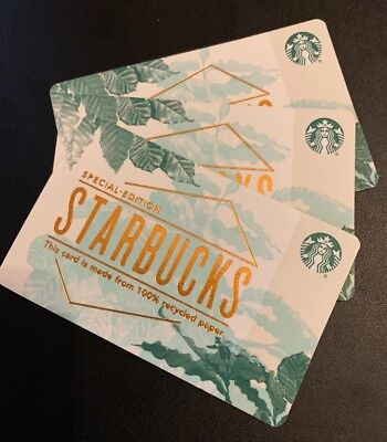 Rare Starbucks Gift Card - Special Edition 100% Recycled Paper - 3 Pack - #6149