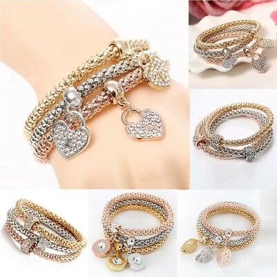 3pcs Set/stack of bracelets fashion bangles gold& &rose gold & silver with charm