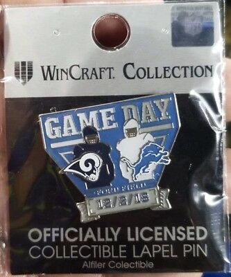 Los Angeles Rams vs Detroit Lions Gameday Pin 12/2/18 NFL Ford Field