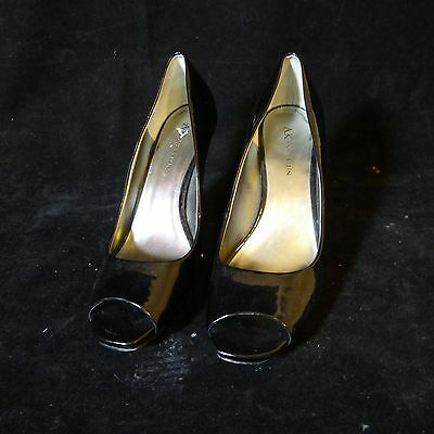226472f57784 ANNE KLEIN Black Patent Leather Pumps Heels Shoes Size 8 M Kitten ...