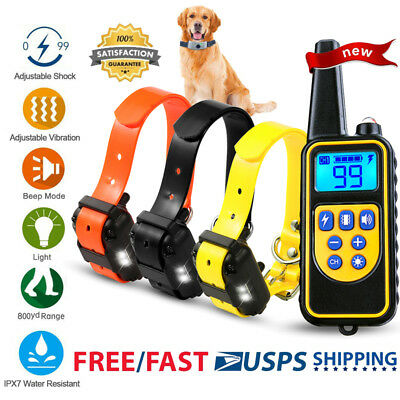 Dog Shock Training Collar Rechargeable LCD Remote Control Waterproof 875 Yards
