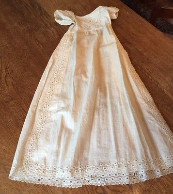 Mid Late 1800s Heirloom French Hand Sewn Fine Batiste Christening Gown Infant