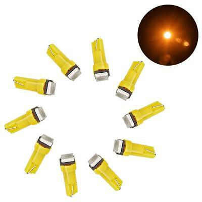 10Pcs Yellow T5 1SMD 5050 Car LED Bulbs Dashboard Licence Plate Wedge Light 12V
