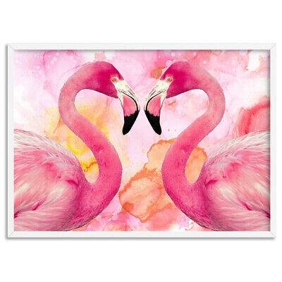 FLAMINGO EMBRACE - Watercolour Wall Art Print Poster Canvas - On Trend