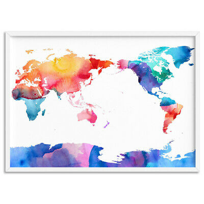 WORLD MAP Watercolour Rainbow - On Trend - Wall Art Print Poster Canvas