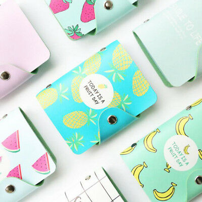 Cute Fuirt 20 Bits Card ID Holder Case Leather Card Credit Passport Bags Wallets