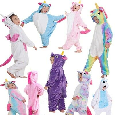 Kids rainbow Unicorn Kigurumi Animal Cosplay Costume  Pajamas Sleepwear UK