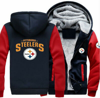 NFL Men s Thicken Hoodie Pittsburgh Steelers Fan Zipper Jacket Warm Coat 3e0d07875