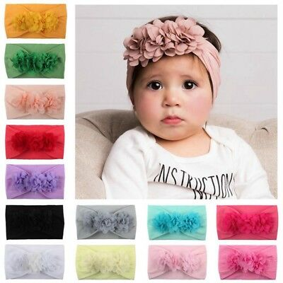 Girls Baby Headband Elastic Chiffon Flower Rose Soft Nylon Princess Hair Band